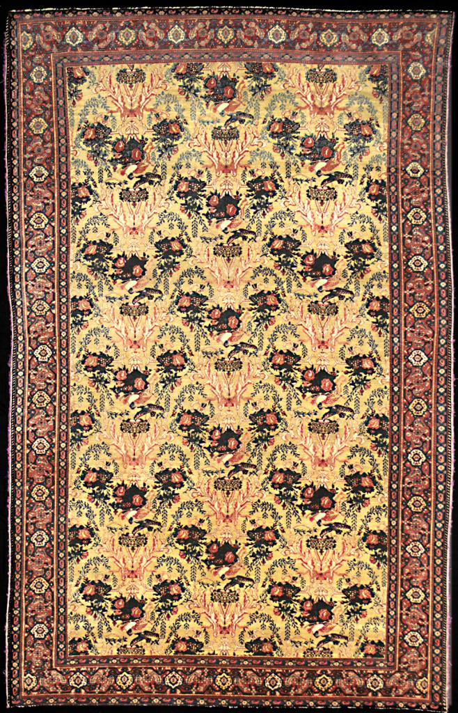 Sehna rug with multi-coloured silk warps, west Persia, 19th century, 130 x 210cm Mollaian, Ferrara