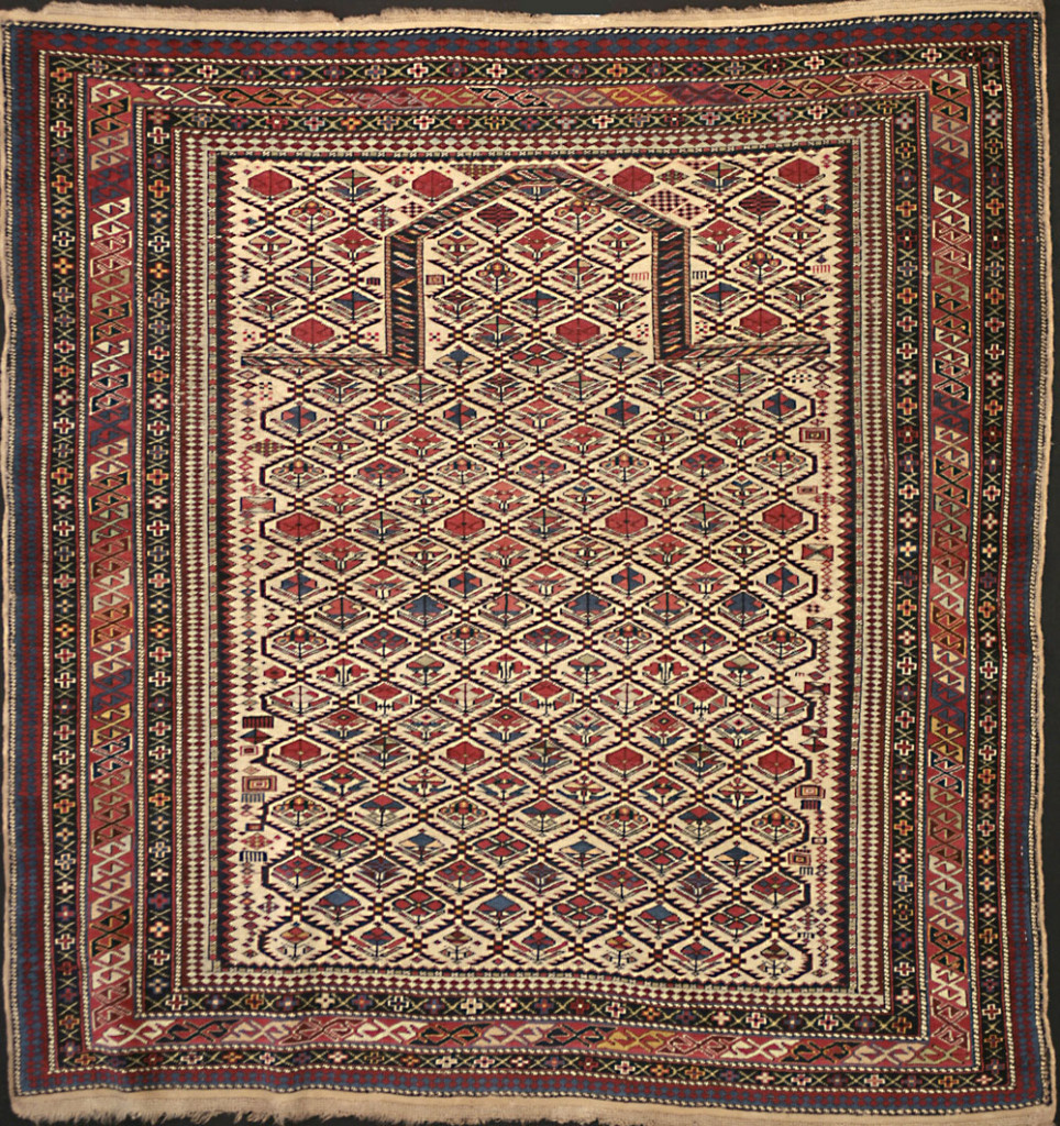 Daghestan prayer rug, northeast Caucasus, late 19th century. 115 x 135 cm. Mollaian, Ferrara