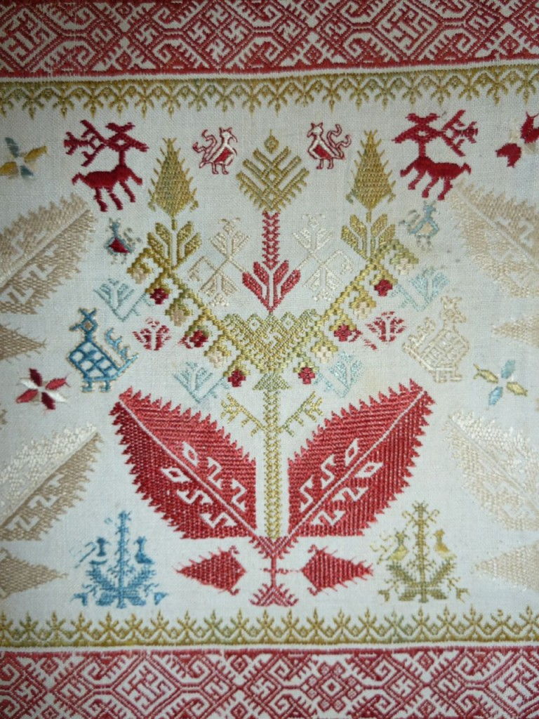 Patmos silk embroidery (detail), 18th century. Markus Voigt, London