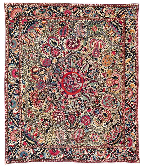 Lot 197. Shahrisyabz 'Lakai' suzani, Uzbekistan, sold for €140,300