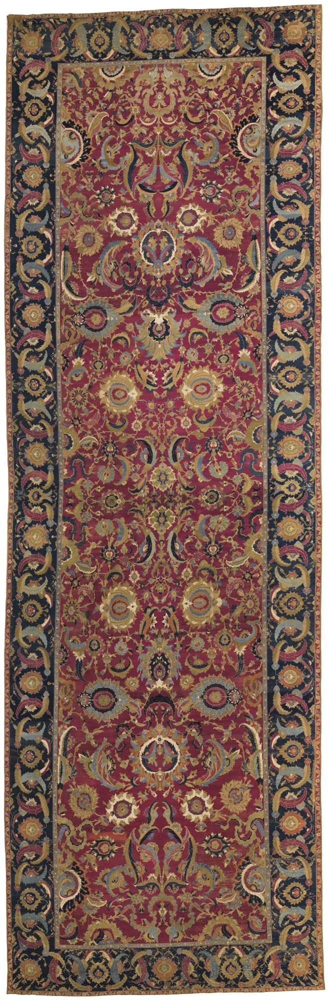 The Lafões Esfahan carpet, central Persia, second half 17th century. 44ft. 3in. x 14ft. 2in. (13.49 x 4.32m.). Sotheby's New York, 5th June, lot 19, estimate, $800,000 - 1,200,000, sold $4,645,000