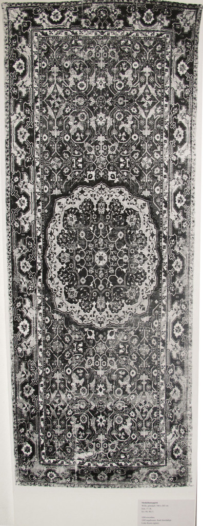Inv. Nr. KGM 90,10. North Persian carpet (545 x 212 cm), beginning of the seventeenth century. Acquired 1890.