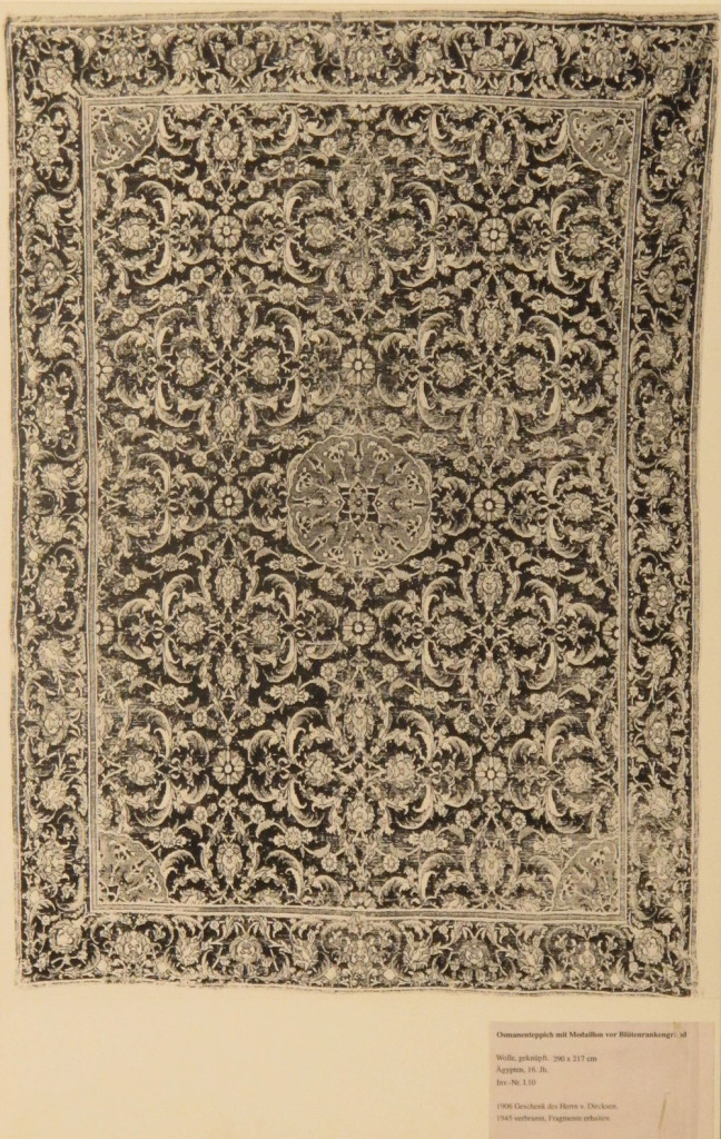 Inv. Nr. I 10. Ottoman carpet (290 x 217 cm), Cairo about 1540-5. Acquired 1905 as a gift from von Dirksen.