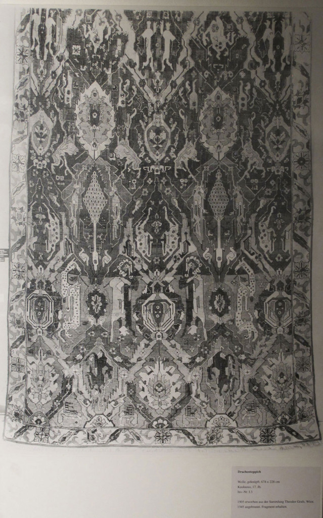 Inv. Nr. I 3. Dragon carpet (678 x 230 cm), Caucasus, early sixteenth century. The carpet is reputed to have come from a mosque in Damascus and passed into the Graf collection in Vienna from which, in 1905, it was acquired for Berlin.