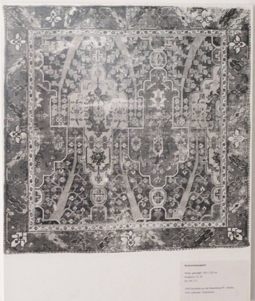 Inv. Nr. I 13. Fragment of a Caucasian or North Persian carpet (228 x 228 cm), seventeenth century. Acquired 1905 as a gift from Bode.
