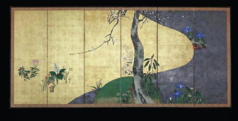 Solitary plum tree, six panel screen, Rinpa school artist, Edo period
