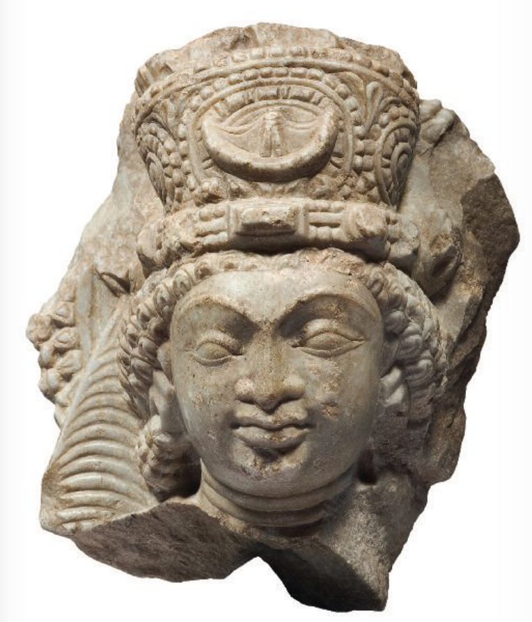 White marble detached head of a Brahmanical deity Afganistan, Kabul Valley, late 6th-early 7th century