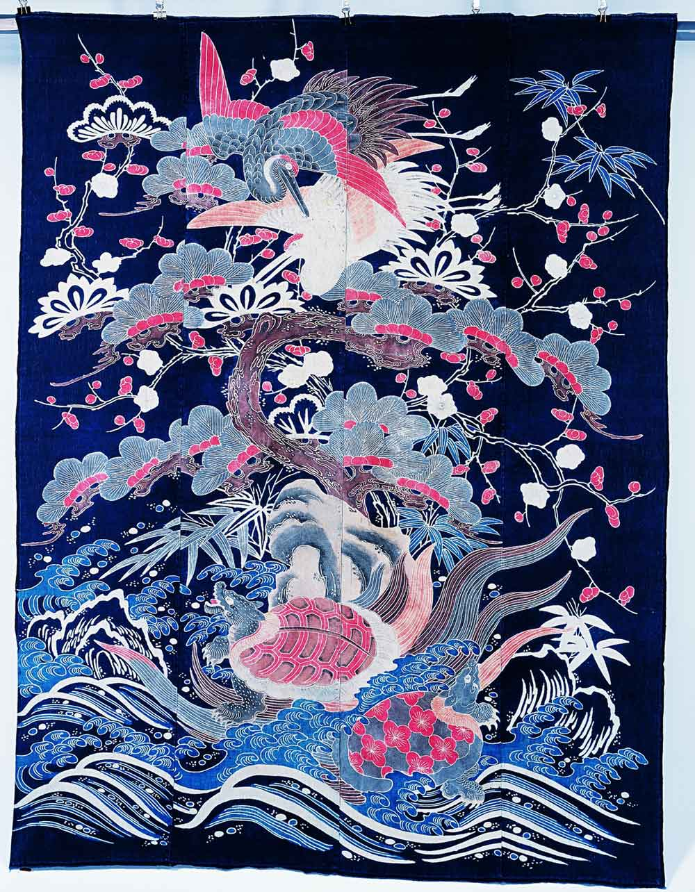 Bedspreads (futon), Horai Mountain motif, Japan, cotton fabric, tsutsugaki, 162.1 x 125.4 cm, Private Collection