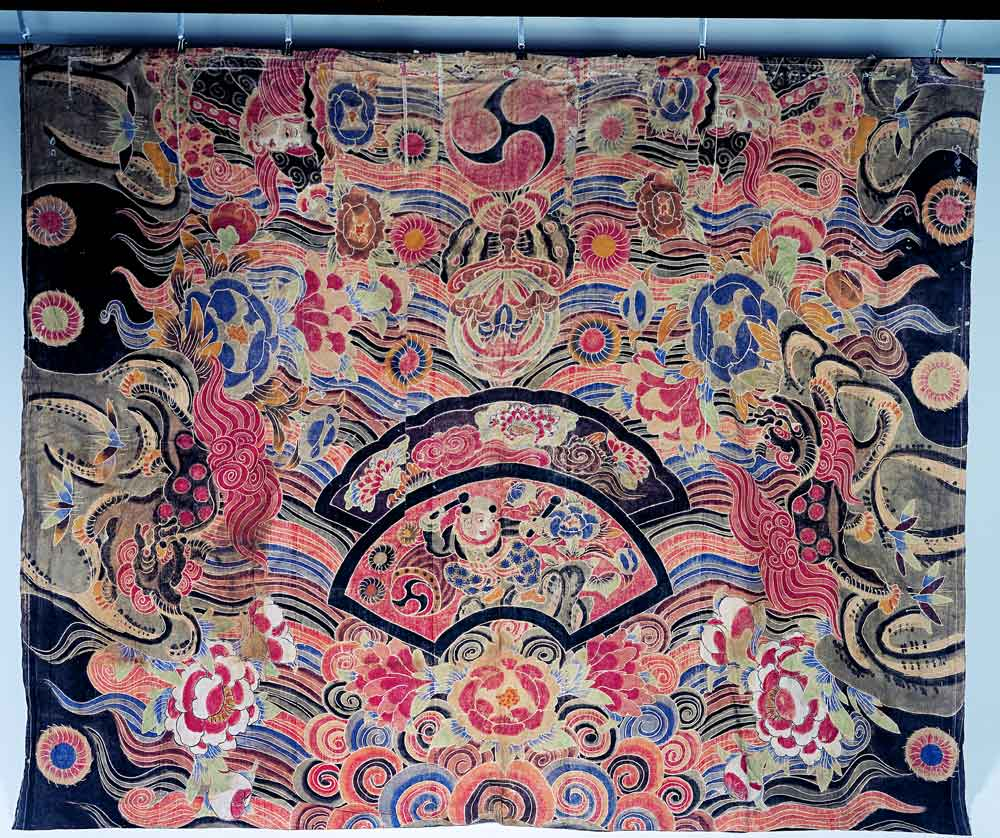 Fabric for the Chinese lion dance, Chinese lion mane motif, Japan, cotton fabric, tsutsugaki, 179.6 x 223 cm, Private collection