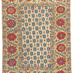 Small suzani or sandalipush, Uzbekistan, 19th century. 154 x 108 cm. A number of these smaller suzanis are known with fields filled with small blue irises. See pl.8 in Vok Suzani 1