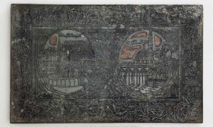 Printing block with views of Mecca and Medina Possibly Egypt or Ottoman Turkey, late 19th or early 20th century, 28.5 x 46 cm