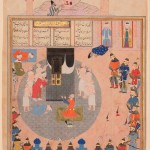 Alexander visits the Ka'bah, illustration to the Shahnamah of Firdawsi Shiraz, mid 16th century, ink, opaque watercolour and gold on paper, 37.5 x 24.2 cm