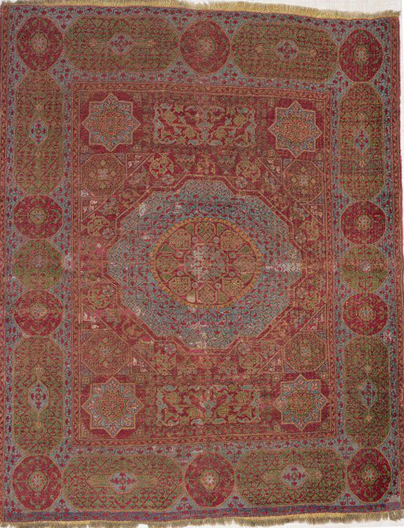 Mountsey Mamluk carpet, Eygpt, 15th/16th century. 1.45 x 1.88m. V and A Museum T.26-1943