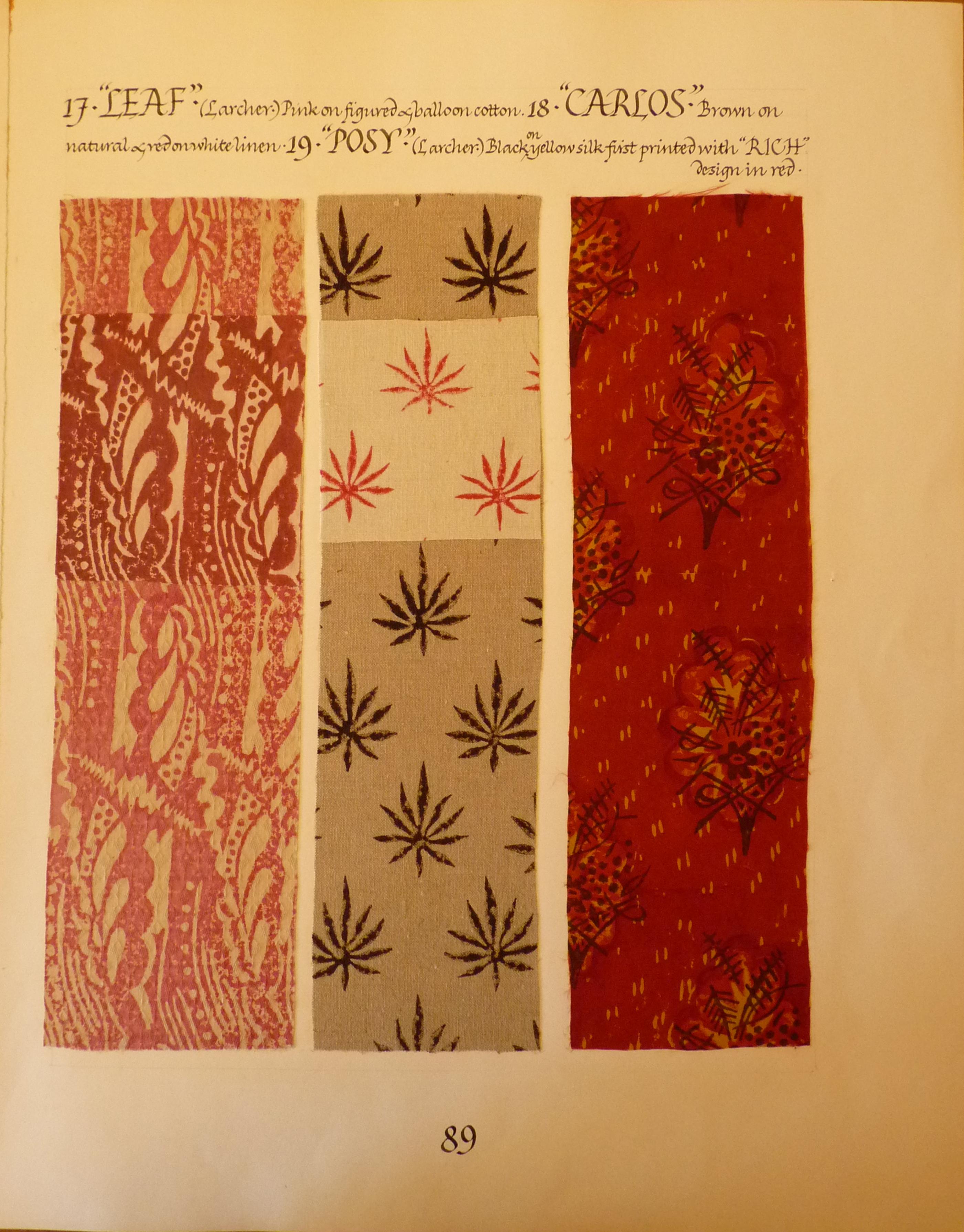 Barron & Larcher Sample Board 2 - 1930's