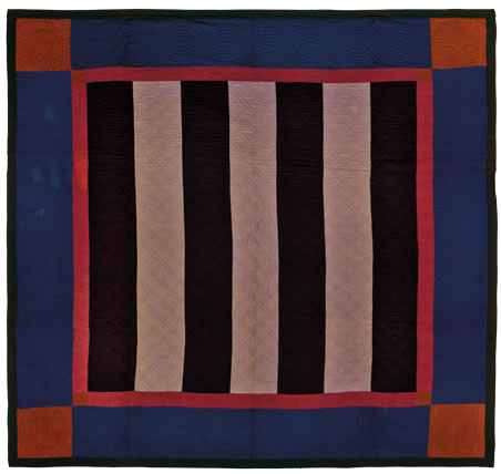 Bars Quilt, circa 1890, Pennsylvania. Cotton, wool, 83 x 82 in. (210.8 x 208.3 cm). Brooklyn Museum, Gift of Mr. and Mrs. H. Peter Findlay, 77.122.3. Brooklyn Museum photograph. Photo by Gavin Ashworth, 2012
