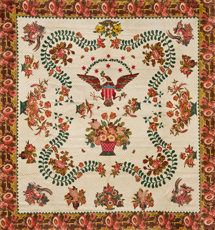Elizabeth Welsh. Medallion Quilt, circa 1830. Cotton, 110 1:2 x 109 in. (280.7 x 267.8 cm). Brooklyn Museum, Gift of The Roebling Society, 78.36