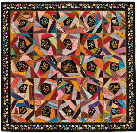 Mary A. Stinson (American). Crazy Quilt, circa 1880. Silk, 81 1:4 x 81 5:8 in. (206.4 x 207.3 cm). Brooklyn Museum, Designated Purchase Fund, 1995.87. Brooklyn Museum photograph. Photo by Gavin Ashworth, 2012