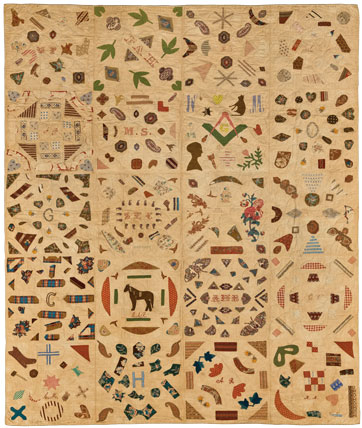 Pictorial Quilt, circa 1840. Cotton, cotton thread, 67 3:4 x 85 1:2 in. (172.1 x 217.2 cm). Brooklyn Museum, Gift of Mrs. Franklin Chace, 44.173.1. Brooklyn Museum photograph. Photo by Gavin Ashworth, 2012