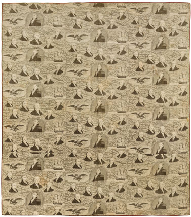 Whole-Cloth Quilt, circa 1830s. Cotton toile, 70 x 85 in. (177.8 x 215.9 cm). Brooklyn Museum, Gift of Margaret S. Bedell, 28.111. Brooklyn Museum photograph. Photo by Gavin Ashworth, 2012
