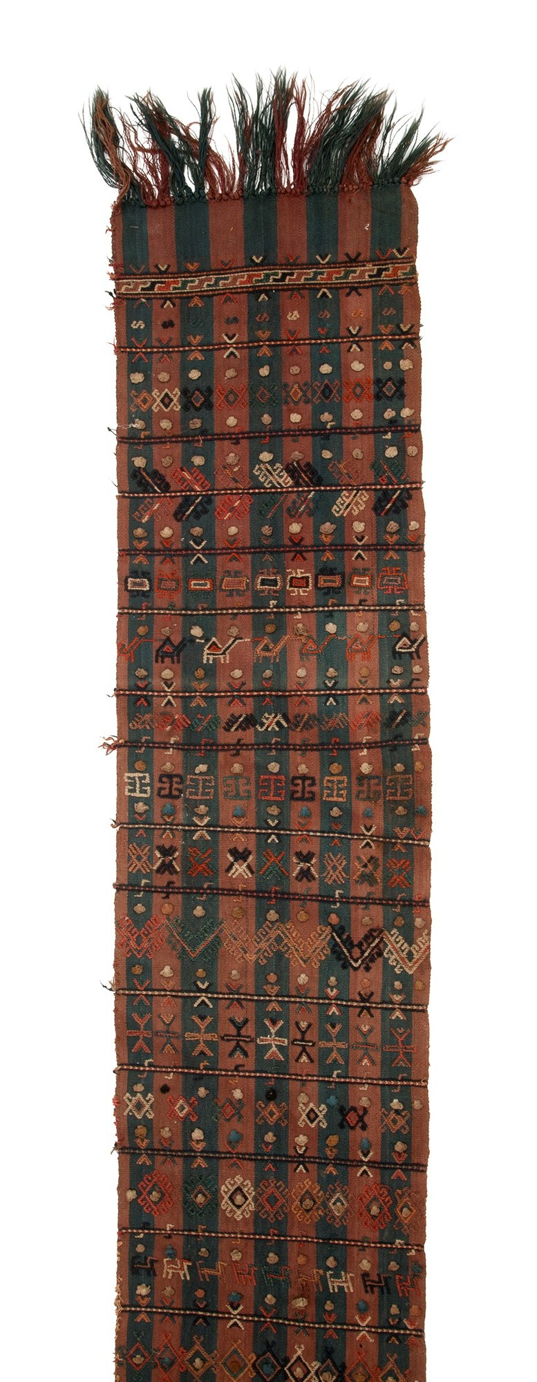 Important Oceanic & African Art, 14 September 2013, Webb's, Auckland Lot 296, Kurdish flatwoven tent divider, L.3000mm, W.410mm. Estimate NZ$1,500 - 2,500 Entirely covered with embroidered geometric linear and figural designs. Depicting camels, humans, horses and butterflies rarely seen on these weavings. Kurdish tribe near Mashhad, Northeast Iran.