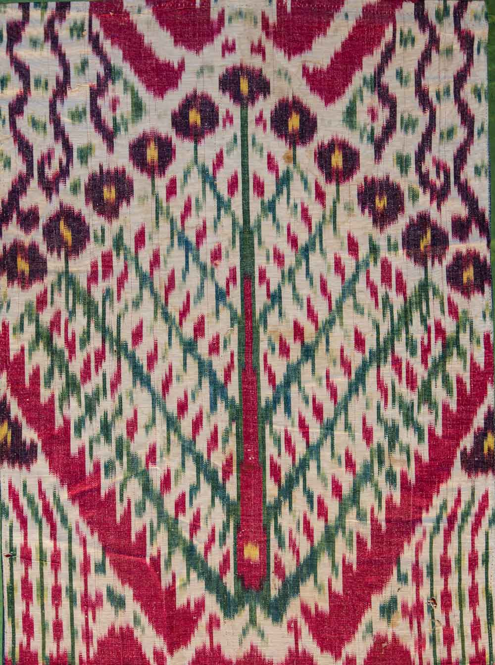 Detail-----Silk-Ikat-(fragment),-Central-Asia,-19th-century,-1'7'-x-3'4'