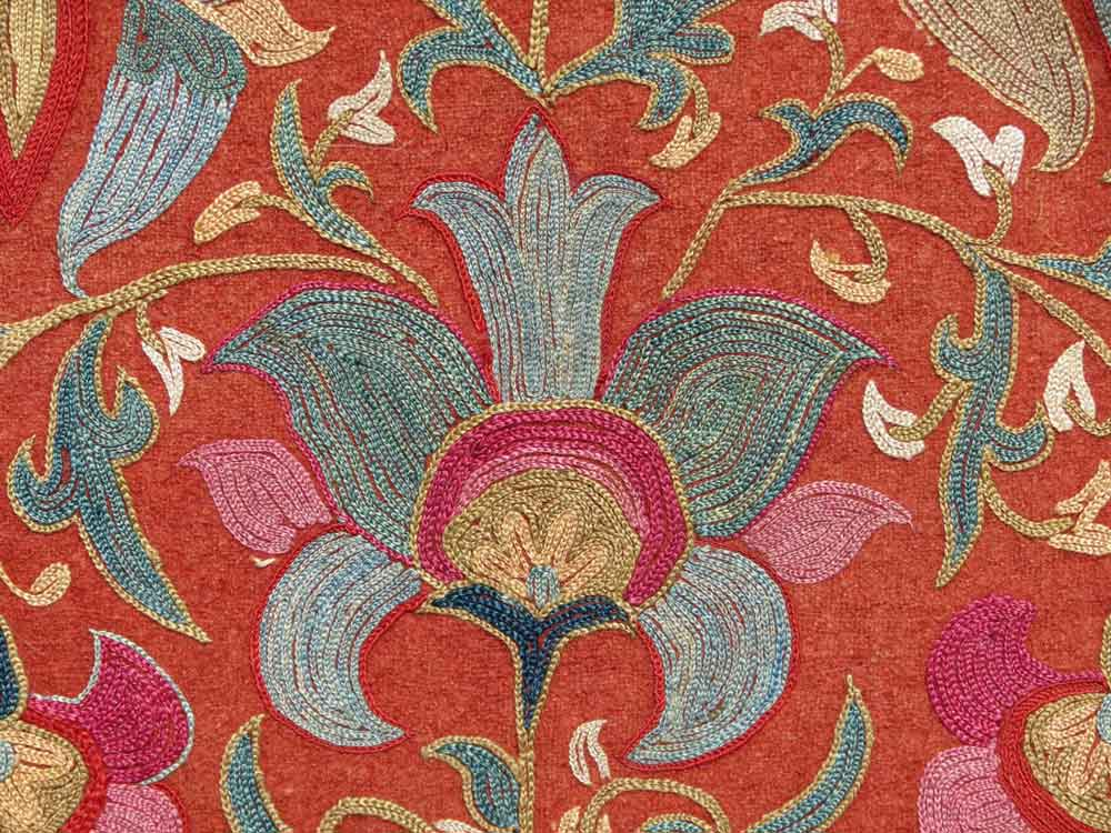 Detail----Uzbek-Embroidery,-Silk-thread-on-woolen-felt-ground,-Central-Asia,-19th-century,-1'-5'-x-1'-5'