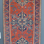 Star Ushak rug, west Anatolia, 16th century. This is a rare small format Star Ushak that has been published a number of times that exhibits all of the elements seen in the large carpets dating from the early 16th century such as the blue floral tracery int he field and the golden arabesques in the medallions. Gallery Moshe Tabibnia