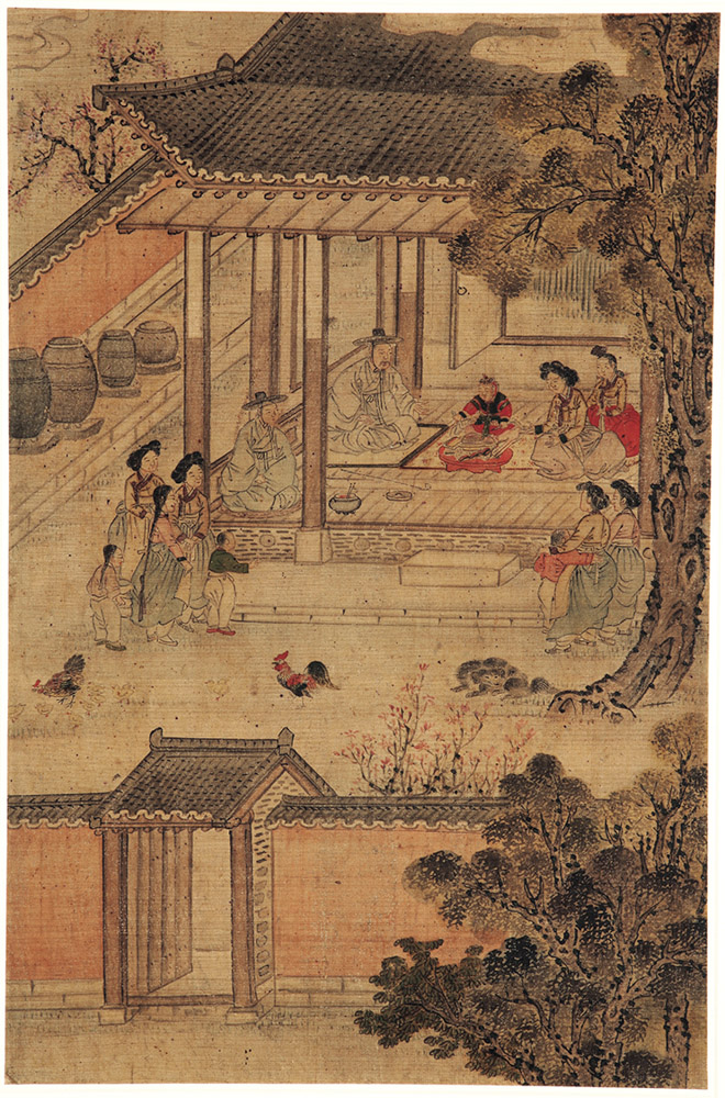 Highlights of an illustrious lifetime: First birthday celebration, attrib. to Kim Hongdo (Korean, 1745–approx. 1806), Joseon dynasty (1392–1910). Ink and colors on silk, H. 28 7/8 x W. 20 ¼ in. Courtesy of National Museum of Korea. Photo: Courtesy of