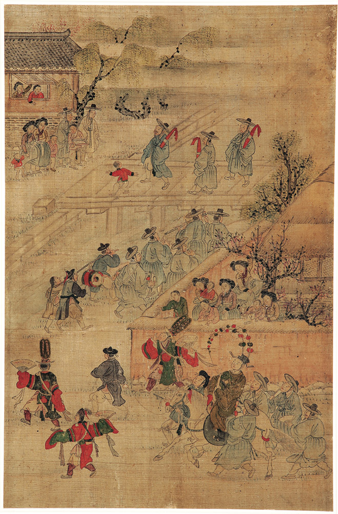 Highlights of an illustrious lifetime: First birthday celebration, attrib. to Kim Hongdo (Korean, 1745–approx. 1806), Joseon dynasty (1392–1910). Ink and colors on silk, asian art museum Courtesy of National Museum of Korea. Photo: Courtesy of