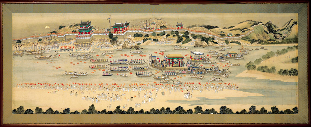 Welcoming ceremonies for the governor of Pyeong-an: Celebration at Bubyeok Pavilion, attrib. to Kim Hongdo (Korean, 1745–approx. 1806), Joseon dynasty (1392–1910). Ink and colors on paper, H. 28 x W. 77 3/8 in. (painting only). Courtesy of National Mu