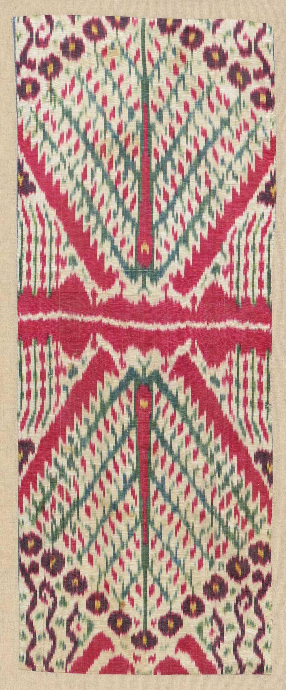 One of a pair of Uzbek ikat panels