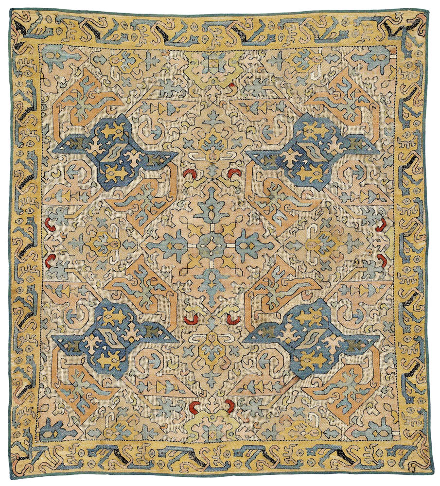 Azerbaijan silk embroidery, southeast Caucasus, first half 18th century., 80 x 89 cm.  Rippon Boswell, Wiesbaden, 30 November 2013, lot 131, estimate €34,500