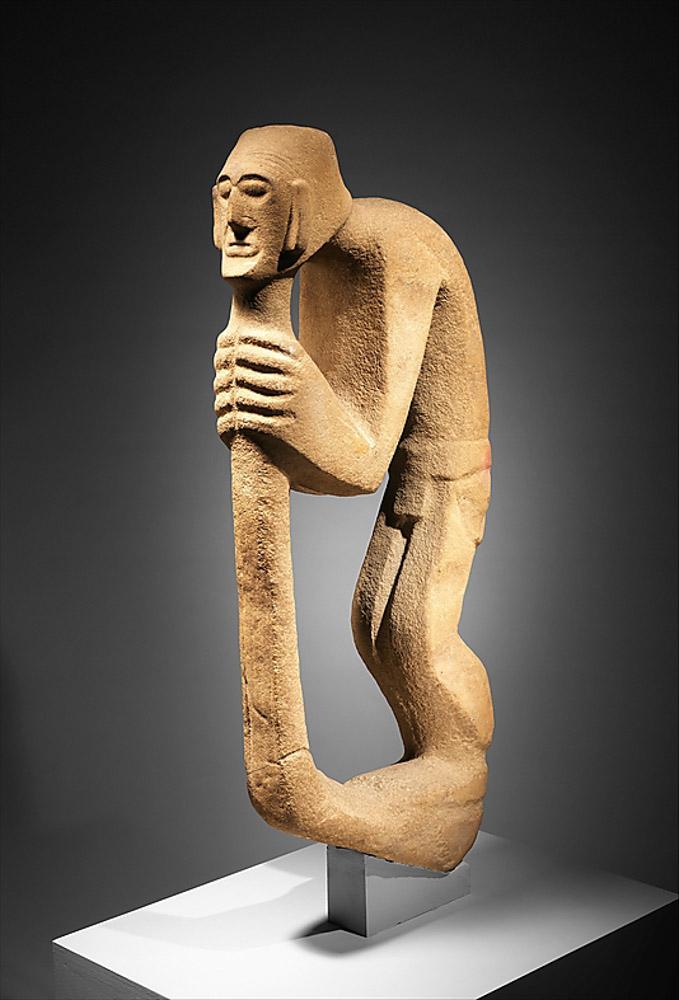 Hunchback Leaning on Staff, Huastec, Veracruz, Mexico, 10th–12th century