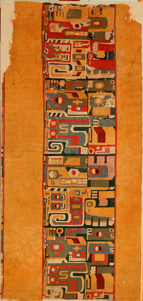 Camelid hair and cotton tunic section, Wari, Peru, 7th-9th century
