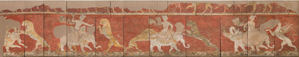 Hermitage Amsterdam Fight of a deity with predators, mural painting, Sogdiana, Varakhsha (Uzbekistan), late 7th - early 8th century