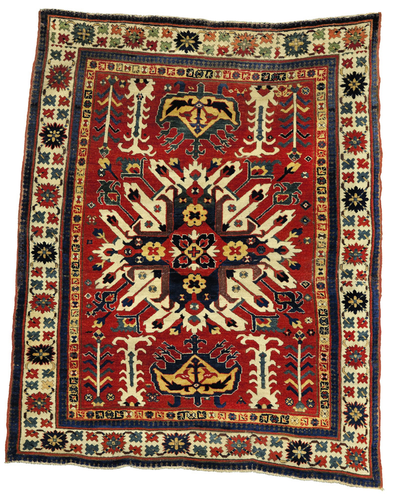 Lot. 56 Property of an Asian private collector An eagle Kazak rug, Southwest Caucasus, circa 1800, 5ft. 10in. by 4ft. 9in. (1.78 by 1.45m.) Estimate 80,000 — 120,000 USD Lot sold. 233,000 USD