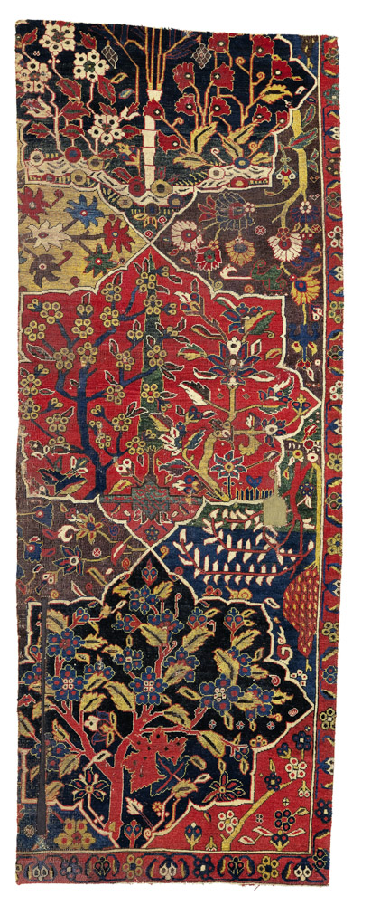 Lot 92. Property from the estate of Eva Louise Woodhead Feuerstein A northwest Persian garden carpet fragment, 7ft. 9in. by 2ft. 11in. (2.36 by 0.89m.), 17th century Estimate 80,000 — 120,000 USD Lot sold. 221,000 USD