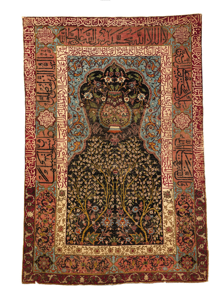 Lot 93. Property from the collection of Joseph and Lewis Dubroff A Safavid prayer rug, Kashan or Isphahan, Central Persia, circa 1600, 5ft. 8in. by 3ft. 11in. (1.73 by 1.19m.) Estimate 300,000 — 500,000 USD Lot sold. 365,000 USD