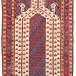 Lot 11 A BESHIR PRAYER RUG MIDDLE AMU DARYA REGION, CIRCA 1800 5ft.1in. x 3ft.4in. (155cm. x 101cm.) £15,000-20,000