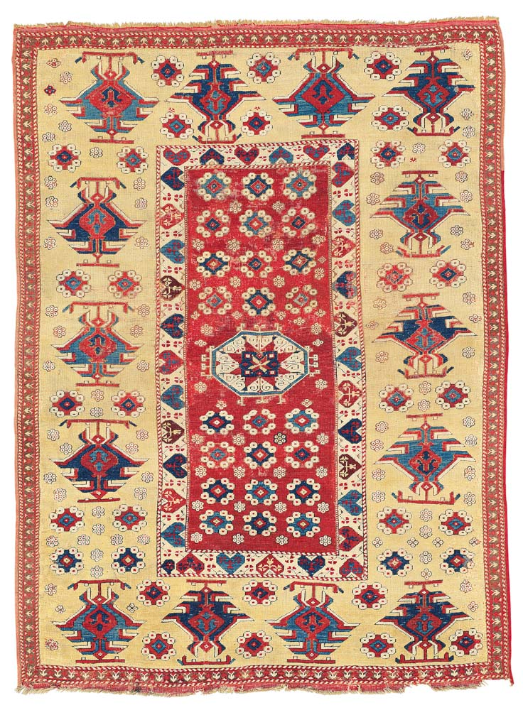 Lot 12 THE VOLKMANN BERGAMA RUG WEST ANATOLIA, LATE 17TH OR EARLY 18TH CENTURY 7ft.2in. x 5ft.4in. (218cm. x 163cm.) £20,000-30,000