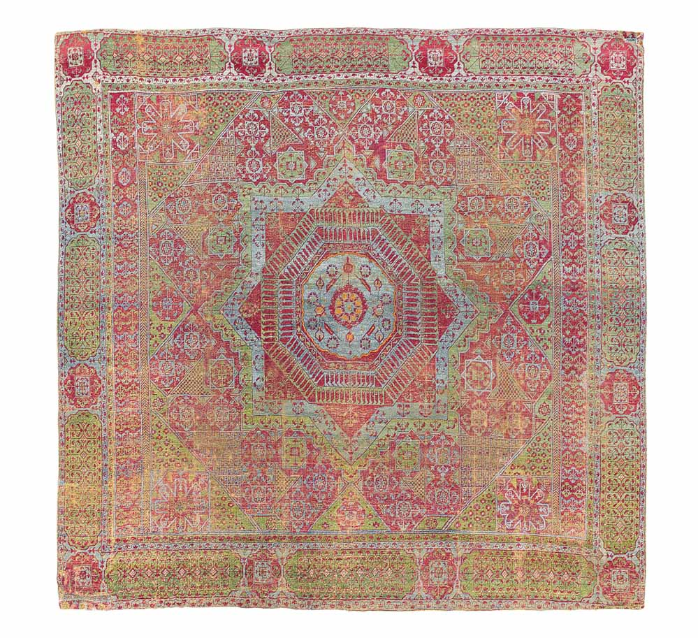Lot 20 THE BAILLET-LATOUR MAMLUK CARPET EGYPT, PROBABLY CAIRO, EARLY 16TH CENTURY 8ft.6in. x 7ft.11in. (258cm. x 240cm.) £250,000-350,000
