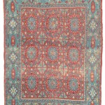 Lot 21 A CHEQUERBOARD RUG PROBABLY DAMASCUS, SYRIA, 16TH CENTURY 6ft.1in. x 4ft.7in. (184cm. x 140cm.) £60,000-80,000