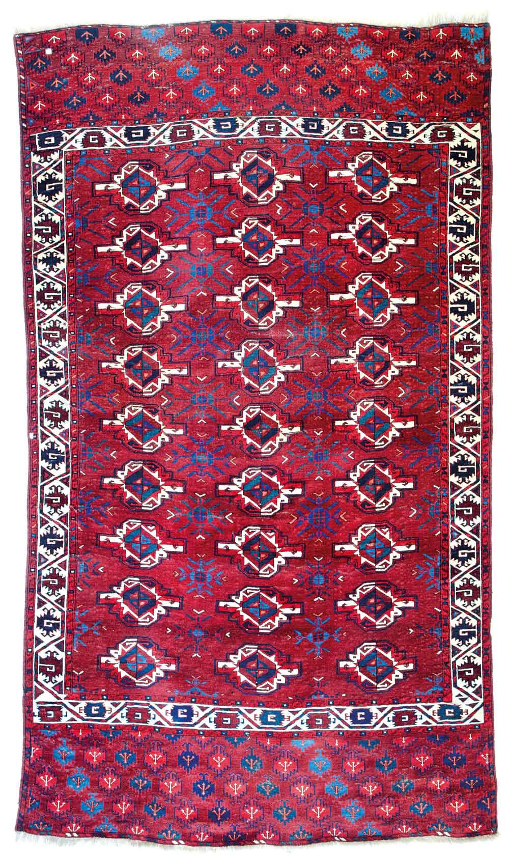 Lot 124, Yomut main carpet, Turkmenistan circa 1800, 9ft. 2in. x 5ft. 3in. Estimate: € 50,000 – 70,000