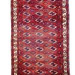 Lot 163: Tekke main carpet, Turkmenistan pre 1800, 8ft. 4in. x 4ft. 8in. Estimate: € 15,000 – 20,000