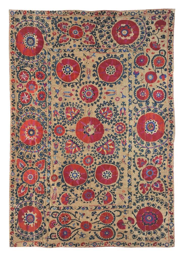 Franz-Bausback-Schachrisabs--Linen-with-silk--278-x-195-cm--Turkey,-Buchara-and-Samarkand,-circa-1800