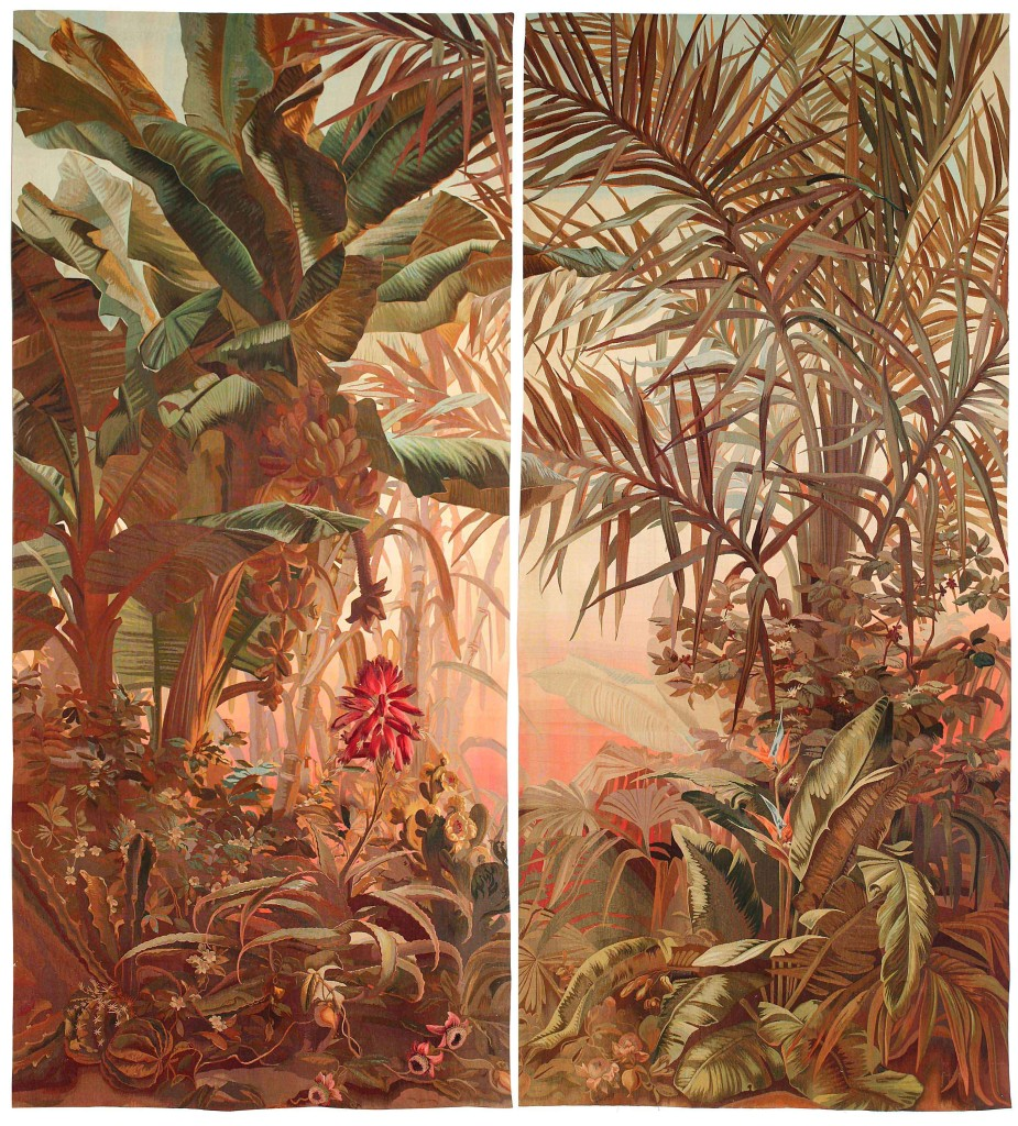 Galerie-Chevalier-set-of-2-tapestries-with-an-exotic-decor-of-banana-&-palm-trees,-with-bird-of-paradise-flower-probably-woven-in-France,-H-4,10-x-W-1,90-m,-Circa-1920