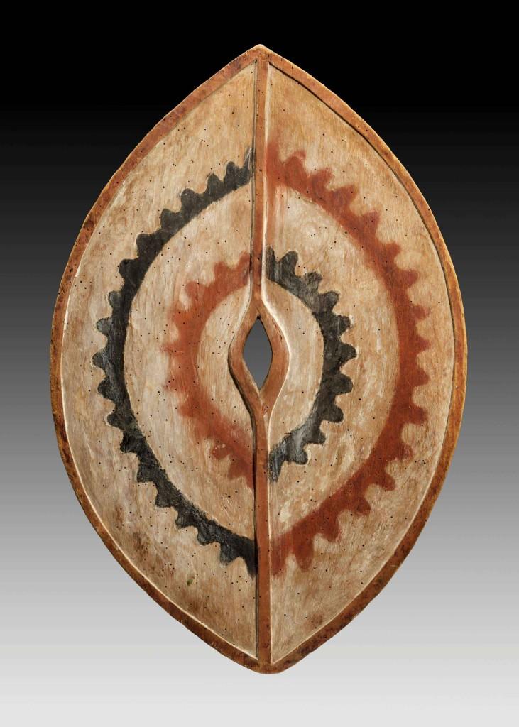 Galerie-Didier-Claes-A-Kikuyu-shield--Wood,-pigments-Height-64.5-cm,-Democratic-Republic-of-the-Congo,-Kikuyu
