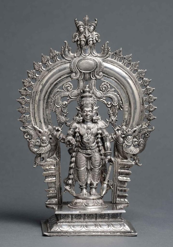 Tefaf Polak-works-of-art--A-silver-standing-Vishnu--Height-14-cm-India,-Kerala,-18th-century