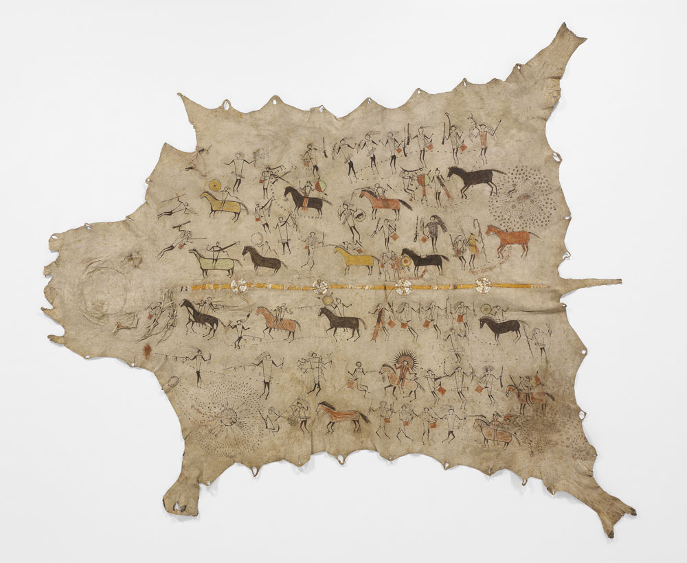 Buffalo skin, porcupine quills and paint, 224 x 148 cm Painted Skin recounting the wartime exploits of a Sioux, Mandan or Arikara chief. © musée du quai Branly, photo Patrick Gries, Valerie Torre