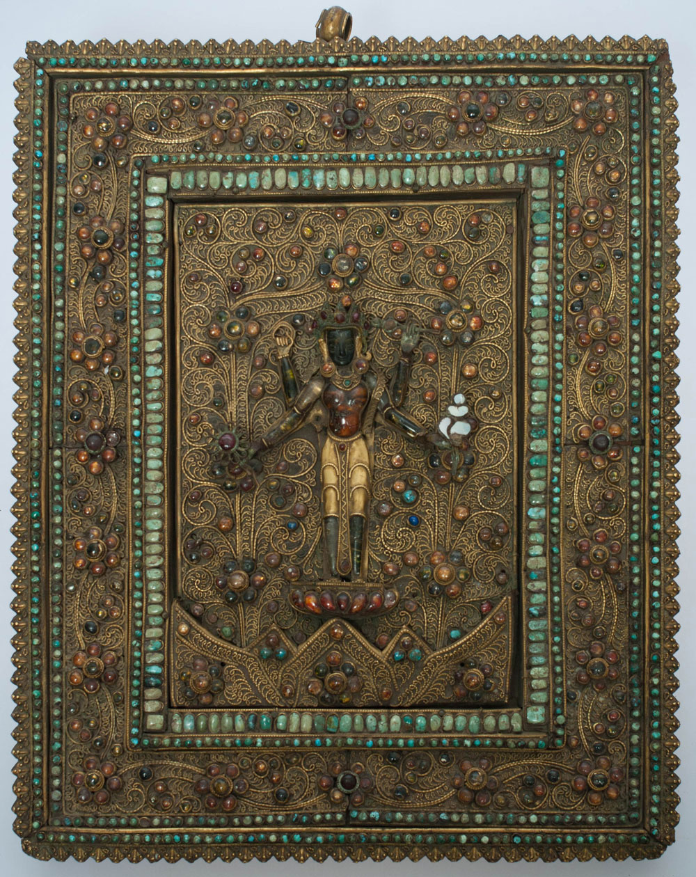"""Bohemian National Hall Robyn Buntin of Honolulu Nepalese Vishnu Plaque, 18th-19th Century, 14-1/4"""" x 11-1/2"""", Gilt bronze, mother of pearl, stones, glass, turquoise"""